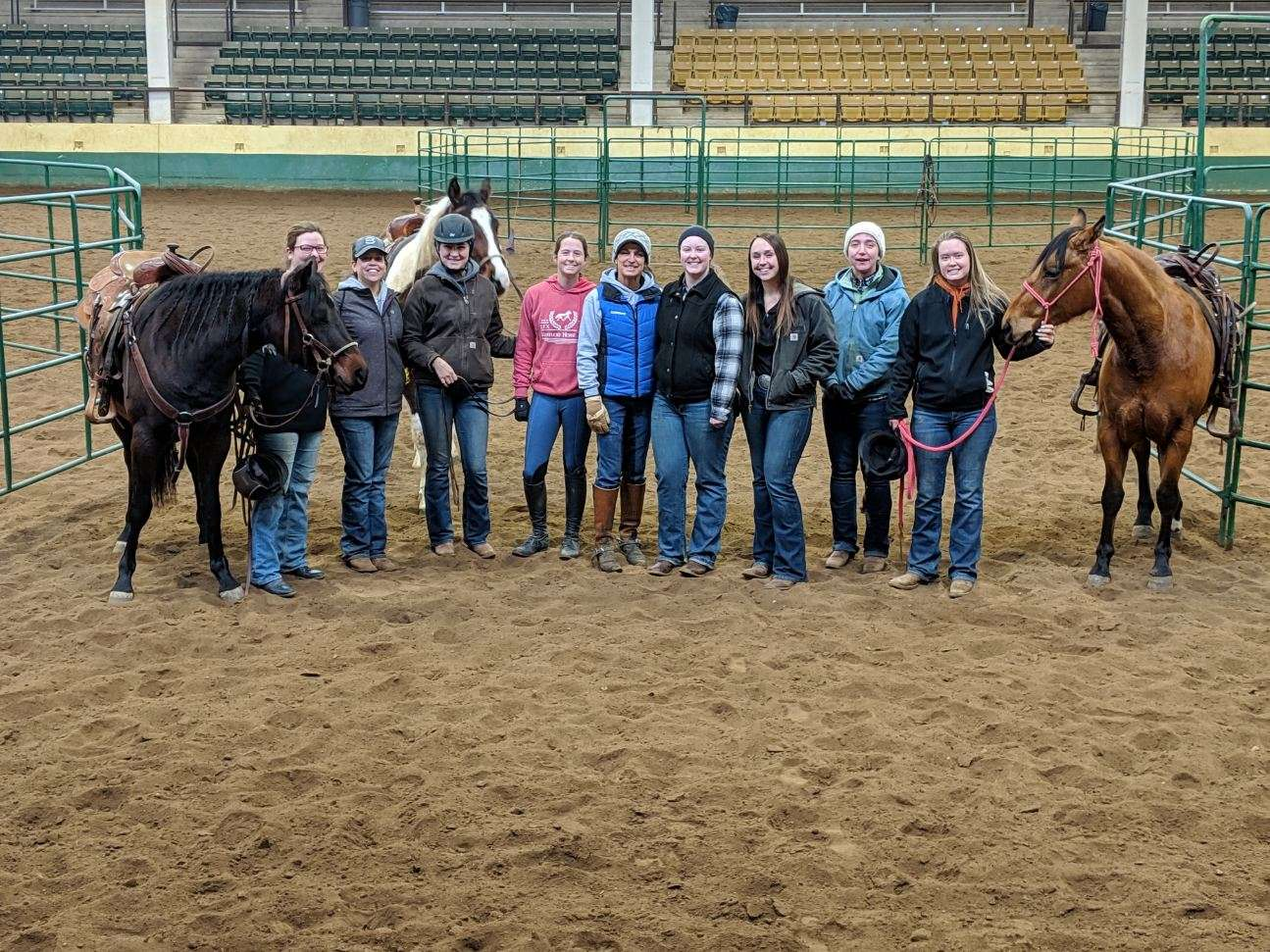 Julie with the colt-starting class she substitute taught at CSU.